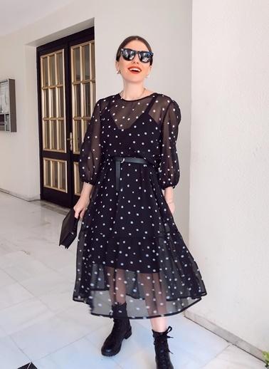 NGSTYLE Puantiyeli Midi Şifon Elbise Siyah